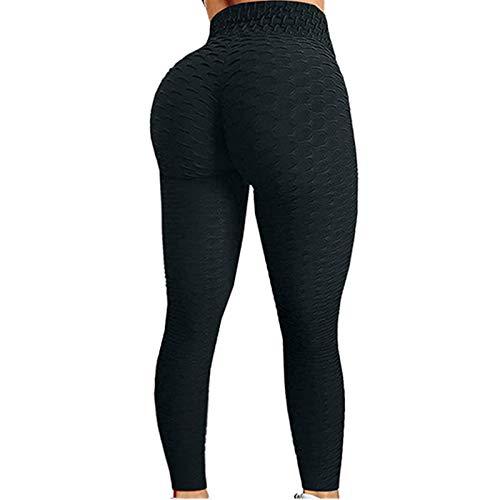 Women's Bubble Hip Butt Lifting Anti Cellulite Legging Women Honeycomb Anti Cellulite Compression Leggings High Waist Workout Tummy Control Yoga Tights (Black, 3XL)