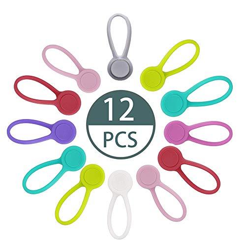Avvolgicavo Magnetico,12 Pezzi Fascette Magnetiche, Cavo Magnetico Avvolgitori,per Cuffie, Cavo USB, Cucina Domestica e Uso Scolastico (8 Colori)