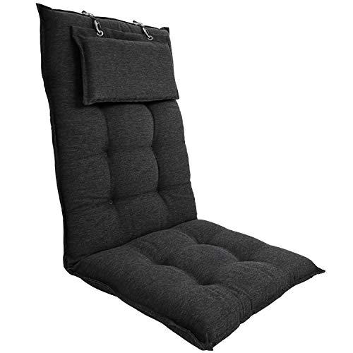 DILUMA   Hochlehner Auflage Luxor 119x50 cm Anthrazit mit Kopfpolster   Luxus Stuhlauflage mit 8 cm Polsterung
