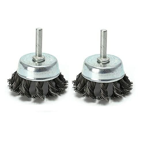 2 unids de acero conjunta rotativo nudo alambre plano taza de taza de pulido de cepillo para el pulido de ángulo de perforación gadget Herramienta rotativa YUAN CHUANG