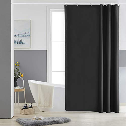 Furlinic Duschvorhang 120x180 Textil Badvorhang aus Polyester Stoff Schimmelresistent Wasserabweisend Waschbar Schwarz mit 8 Duschvorhangringen.
