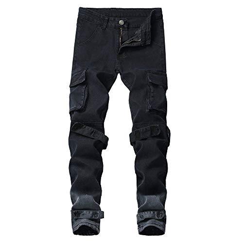 ZODOF Pantalones Hombre Moda Jeans Hole Trouser Pantalones Vaqueros Desgastados Pantalones Largos de Lápiz Ropa de Calle Casual Pantalones Trabajo