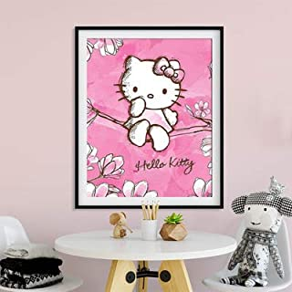 DIY 5D Diamond Painting by Number Kit, Hello Kitty Crystal Rhinestone Crystal Embroidery Cross Stitch Arts Craft Canvas Wall Decor 14.1X18.1IN(Full Drill)