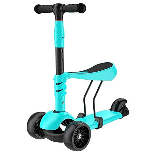 Smmli-Toy Kinderroller, Blue Scooter Dreirad Two In One Lightning Scooter Sicher, ohne zu Rollen Double Spring Gravity Steering Scooter