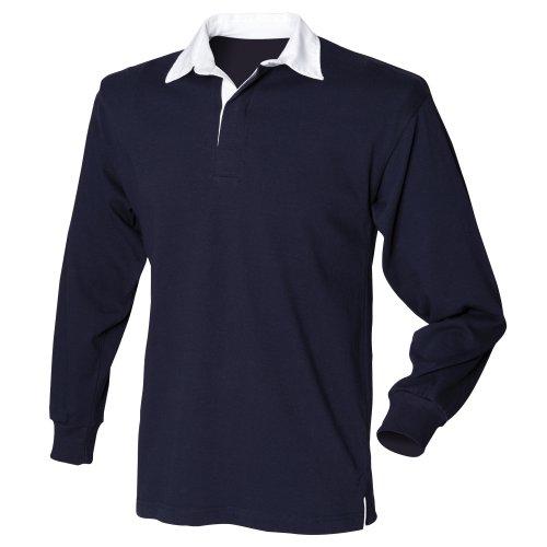 Front Row - T-shirt de rugby à manches longues en coton - Homme (M) (Bleu marine)