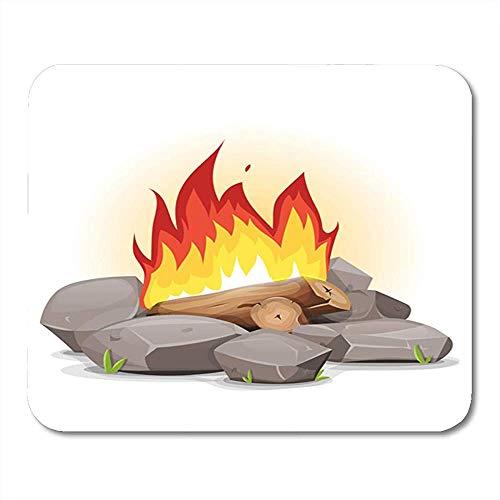 Hoguera Campaña vivac con Llamas ardientes de Dibujos Animados con y Piedras Alrededor de Blaze Branch Alfombrillas de ratón Antideslizantes llamativas 18x22 cm