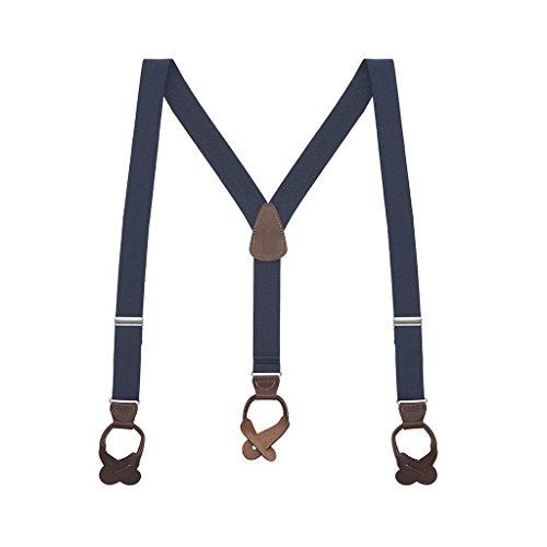 SuspenderStore Men's 1.25 Inch Wide Button Suspenders - NAVY BLUE (Brown Leather)