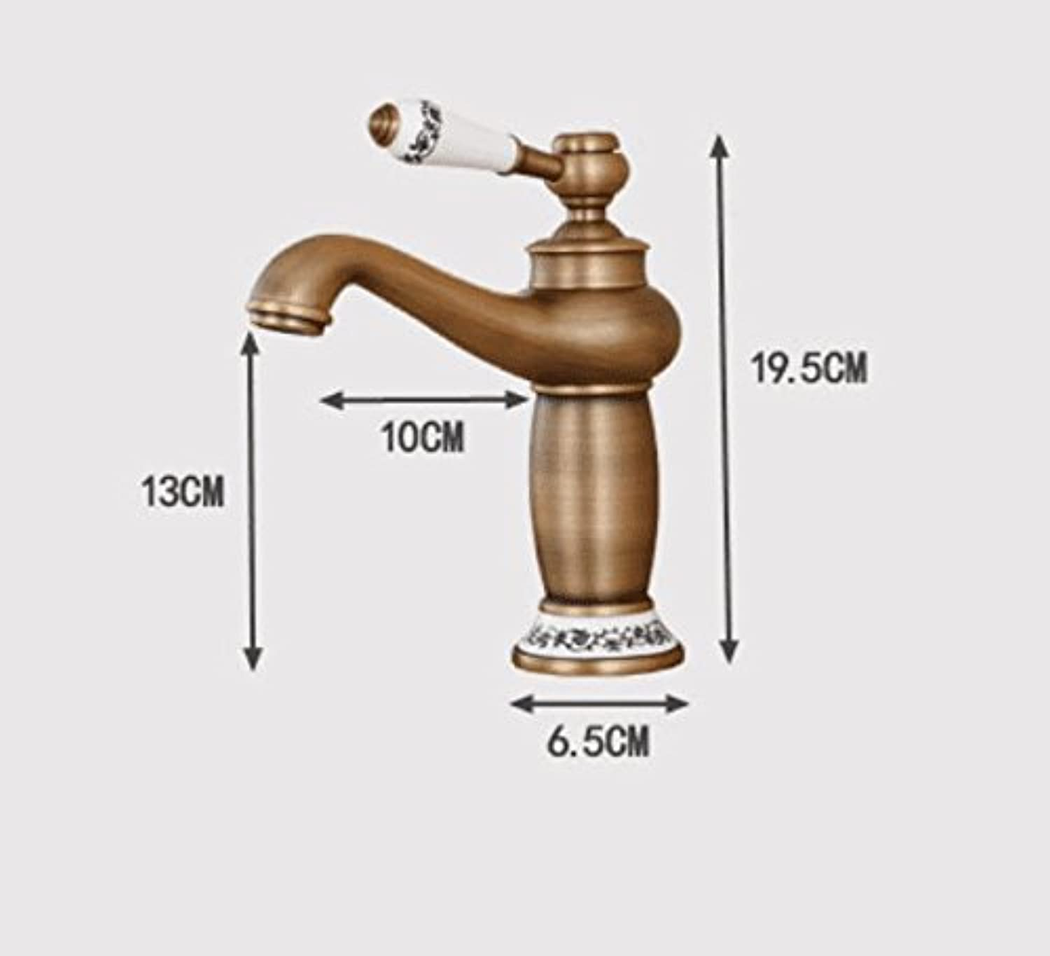 Mildemr European Style All Copper Antique Platform Basin Cold Hot Faucet Wash Basin Single Single Hole American bluee and White Water Faucet,golden Money