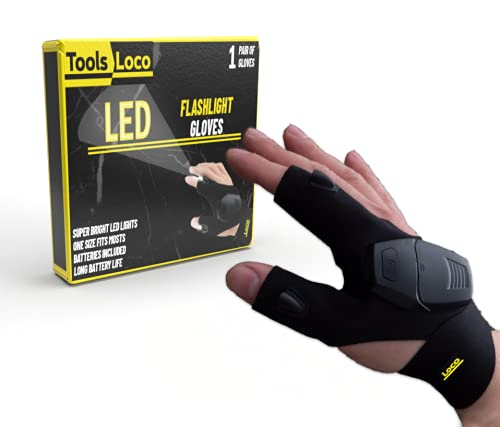 Gloves With Led Lights - Flash Light Gloves - Gloves With Flashlight - Flashlight Gloves For Men - Fingerless Work Gadget - Built in Led Light Tools - Cool Gift - Fishing Camping Handyman Car Repair