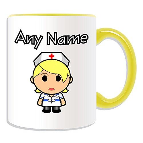 Gepersonaliseerd geschenk - Verpleegster in witte jurk blond haar mok (Carrière ontwerp thema, kleur opties) - elke naam/bericht op uw unieke - nationale NHS ziekenhuis werknemer personeel uniform rood kruis hoed algemene praktijk huisarts beroep