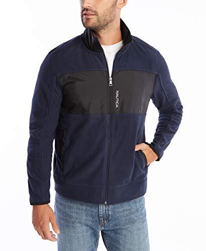 Nautica Men's Full-Zip Mock Neck Fleece Sweatshirt, Navy, Medium