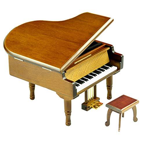 Play (Kiss The Rain) Wooden Piano Music Box with Sankyo Musical Movement (Brown)