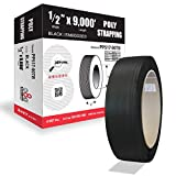 8NET Strapping, Poly Strap, Polypropylene Strapping, 9000' Length, 1/2' Width, 0.017' Thickness, 350lbs Break Strength, 16 x 6' Core (Black)
