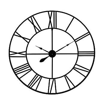 36  Black Metal Cut Out Roman Numeral Wall Clock
