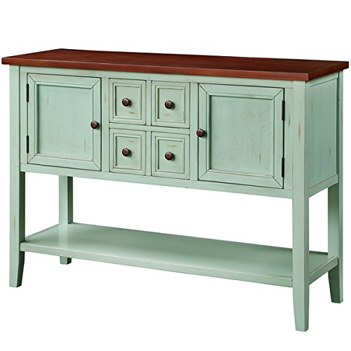 DERCASS Console Table Buffet Sideboard with Storage Drawers,Cabinets & Bottom Shelf(Dark Blue)