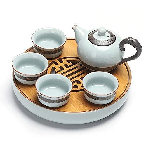 Xiang Ye Juego de té de viaje portátil al aire libre bolsa de viaje Ru pequeño juego de té de cerámica Kung Fu bandeja de té bandeja de té de espuma seca (color : bola de dragón)