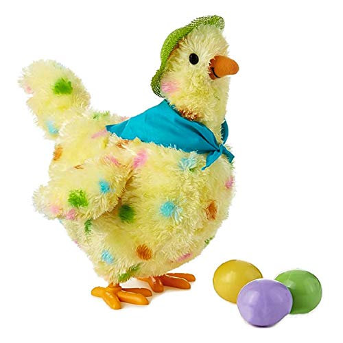 zcm Bambola di Peluche Electric Walking Egg Laying Chicken con Luces Sound Toy Doll Laying Egg Plush Crazy Cute Chicken Hen Laying Eggs Toy
