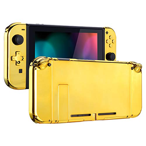 eXtremeRate Back Plate for Nintendo Switch Console, NS Joycon Housing Shell (D-Pad Version) with Full Set Buttons, DIY Replacement Shell for Nintendo Switch - Chrome Gold