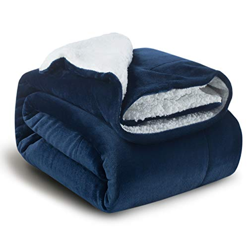 Bedsure Sherpa Fleece Blanket Twin Size Navy Blue Plush Blanket Fuzzy Soft Blanket Microfiber