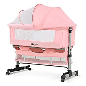 Uenjoy Baby Bassinet, Bedside Sleeper,Foldable Baby Bed to Bed, Adjustable Portable Bed for Infant/Baby/Newborn,with Mosquito Nets, Large Storage Bag, Comfortable Mattresses, Lockable Wheels,Pink
