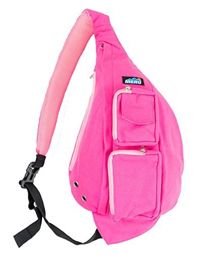 Meru Sling Backpack Bag - Small Single Strap Crossbody Pack for Women and Men (Pink)