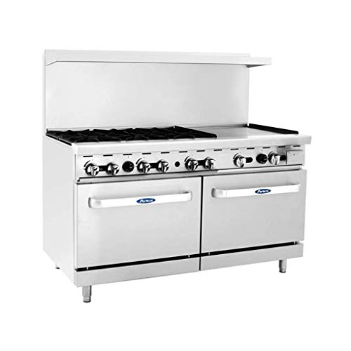 Atosa ATO-6B24G 60'' Gas Range. (6) Open Burners and 24'' Griddle on the RIGHT with Two 26'' 1/2 Wide Ovens