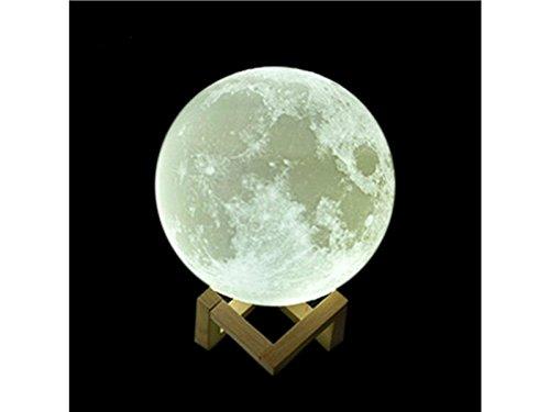 Creatieve 3D Maan Lamp USB Hand Touch Shot Lichten Maan Nachtlampje Moonlight Tafel Bureau Maan Lamp Gift met Houten Houder (Diameter 10cm) voor Gift