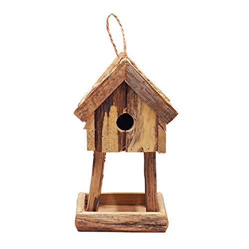 SJTL Hanging Wooden Bird Feeder Table, Garden Wild Bird Traditional Tree or Bracket Hang Feeding Station,Real Wood Bird Feeder Station for Robins, Blue Tits, Sparrows, Common Garden Birds
