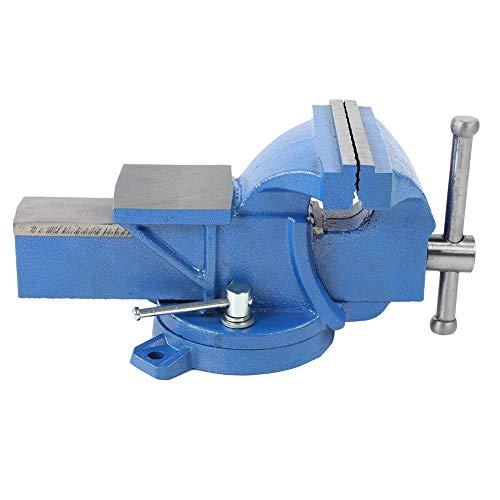 Tornillo de banco, tornillo de banco de hierro fundido giratorio de 360 ° con abrazadera de mesa de base giratoria y construcción de ranura antideslizante para trabajo pesado de 5 pulgadas