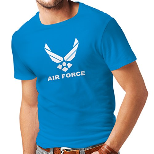 lepni.me Männer T-Shirt United States Air Force (USAF) - U. S. Army, USA Armed Forces (Large Blau Weiß)