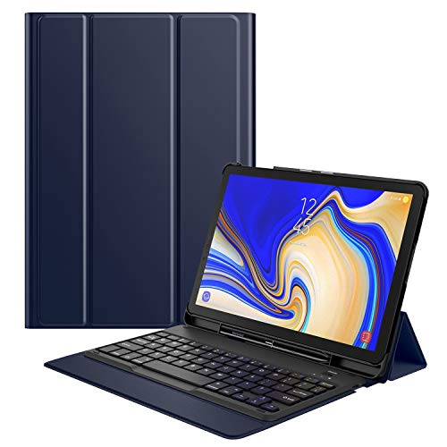 MoKo Funda para Samsung Galaxy Tab S4 10.5 Teclado, Cubierta con Soporte para S Pen, Protector de Teclado Inalámbrico para Galaxy Tab S4 10.5 Inch (SM-T830 and SM-T835) 2018 Release, Índigo
