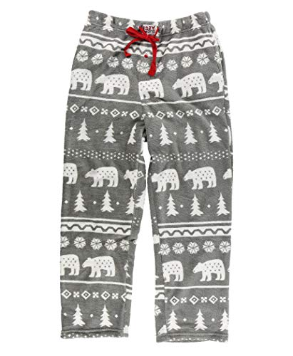 Lazy One Men's Fleece Pajama Pants, Nordic Pajama Bottoms for Men, Winter (Nordic Bear, X-Large)