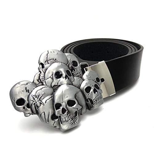 PIDAIKING Gürtel Herren,Mode Persönlichkeit Schwarz Skull Buckle Gürtel, Antiken Schnalle Casual...