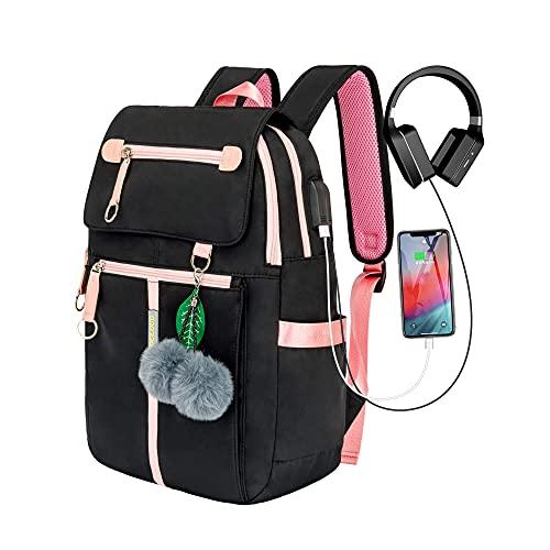 COLOCLOUD zaino scuola ragazze adolescenti, zaino impermeabile, zaino per laptop donna con design ergonomico, zaino per la scuola, il ciclismo, il tempo libero e il viaggio (nero)