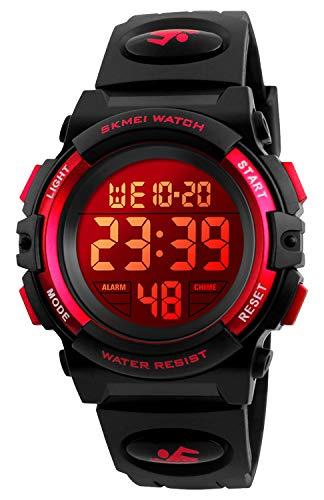 Reloj deportivo digital para niños, resistente al agua, informal, analógico, de cuarzo, 7 colores LED relojes con alarma para niños y niñas, Rojo, S