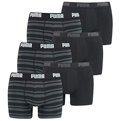 PUMA Herren Boxershort Heritage Stripe 6er Multipack S M L XL Blau Schwarz Grün Rot, Größe:M, Packgröße:6 Stück, Farbe:Black (200)
