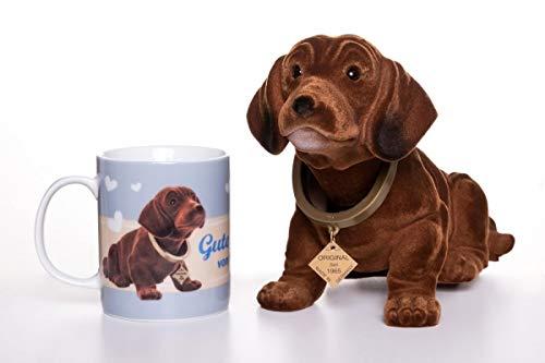 Original perro salchicha salchicha 29 cm con certificado de autenticidad y taza de café