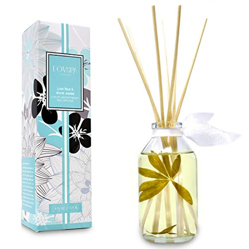 LOVSPA Lush Palm & Jasmine Reed Sticks Oil Diffuser   Tranquil Scent Made with Premium Essential Oils   Green Palm, Jasmine, Lily of The Valley & Earthy Notes   Great Gift for The Home