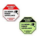 Video Surveillance Sign Outdoor | No Trespassing Glow-in-The-Dark Large Warning Sign | 12'x12' Aluminum | Indoor Outdoor | Home Business CCTV Security Camera | Waterproof UV Protected | Red | 4 Pack