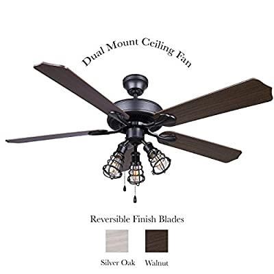 """Ceiling Fan 52"""" Indoor Dual Mount 3 Cage Light, Reversible 5 Blade Silver Oak or Walnut, Graphite Finish"""