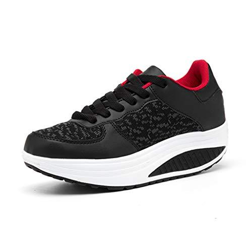 Zapatillas de Mujer, Zapatos Mujer Adelgazar Zapatos Sneakers para Caminar Zapatillas Aptitud Cuña Plataforma Casual Zapatos (38 EU, Negro)
