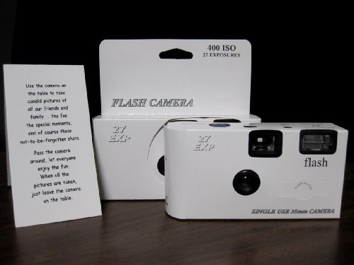 10 Pack Classic White Wedding Party Disposable Cameras with Gift Box and Matching Tents, 27 Exp.