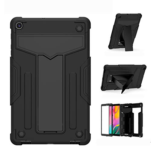 fire bird Simple and practical For Samsung Galaxy Tab A10.1 (2019) T510 T-shaped Bracket Contrast Color Shockproof PC + Silicone Flat Protective Case, Simple and practical (Color : Black+Black)