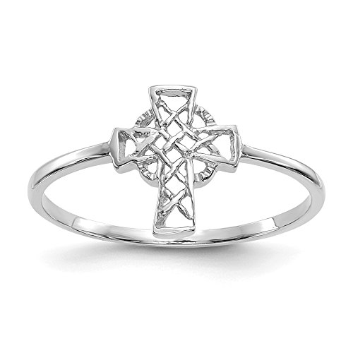 14k White Gold Irish Claddagh Celtic Knot Cross Religious Band Ring Size 7.00 Fine Jewelry For Women Gifts For Her