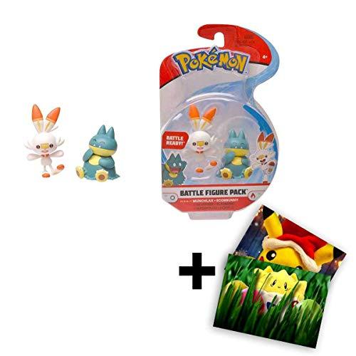 Lively Moments Pokemon Battle Pack Hopplo & Mampfaxo / Sammelfiguren / Spielfiguren + Exklusive GRATIS Grußkarte
