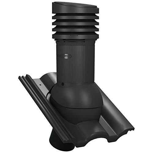 Entlüfterkamin EVO DN125 für Braas - Taunus Dachziegel Dachlüfter Lüfter (RAL 9005 - Schwarz)