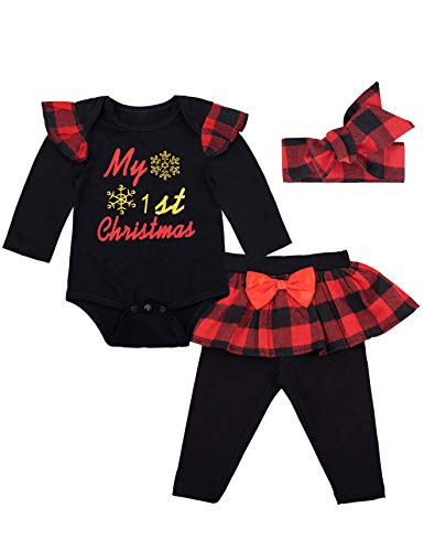Baby Girls' My First Christmas Outfit Set Long Sleeve Xmas Bodysuit(0-3 Months)