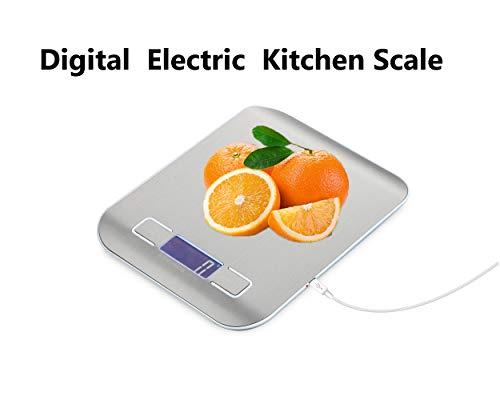 Mars Jun Elektronische Waage 5kg, Tragbare Multifunktionsfunktion Und Einfach Zu Bedienen Mit Touchscreen, Digitalwaage USB-Aufladung Mit Peelingfunktion