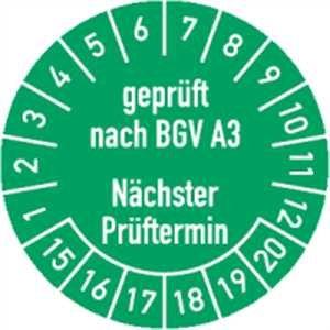 Prüfplakette geprüft nach BGV A3 Nächster Prüftermin 15-20 30mm Ø grün 100 Stück