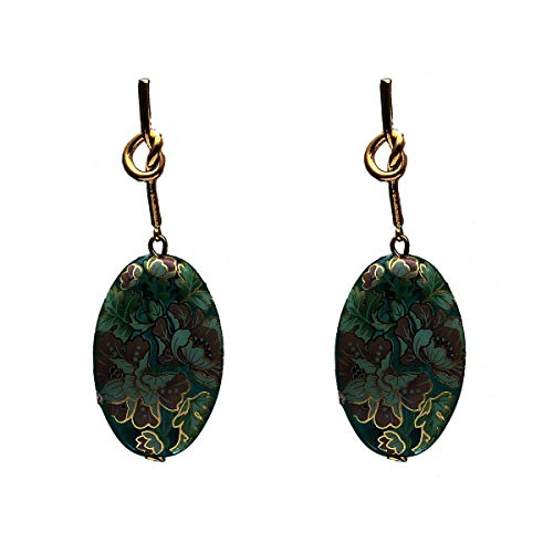 55Carat Unique Small Drop Earrings German Silver Sea Green Digital Floral Print Design Ethnic Indo-Western Stylish Jewellery for Women and Girls